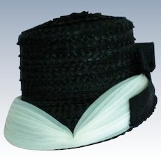 1950's Black Straw Woven Bucket Hat with White Gauze Trim