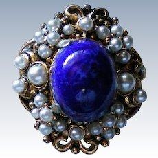 Blue Cabochon with Seed Pearls Cocktail Statement Ring