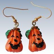 Ceramic Pumpkin Halloween Jack-O-Lantern Earrings