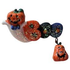 Halloween Ghost Boo Pin with Pumpkin Jack-O-Lantern