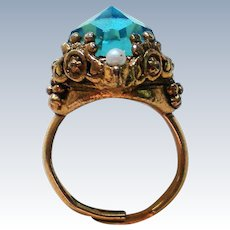 Edwardian Inspired Foil Backed Aqua Glass Stone Ring