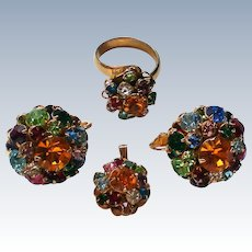 Judy Lee Fruit Salad Pendant, Clip Earrings, and Ring Set