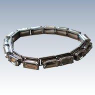 Large Baguette Silver tone Metal Stretch Link Bracelet