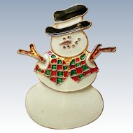 Enameled Snowman Pin for Christmas Winter Holdiays