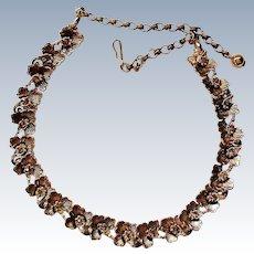 Signed BSK Metal Flower Necklace