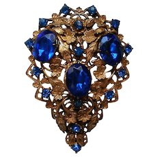 Incredible Large Fur / Dress Clip with Foil Backed Stones