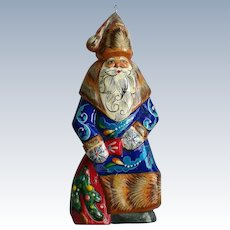 Hand Painted Artist Signed Russian Wooden Santa St. Nicholas Christmas Ornament