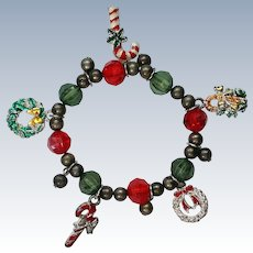 Christmas  Holiday Charm Stretch Bracelet