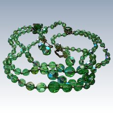 Triple Strand Green Glass Bead Necklace with Earrings