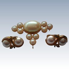 Signed Richelieu Brooch with Earrings