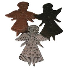 Silver, Copper, and Bronze tone Metal Angel Pin for Christmas Holidays