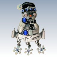 "Signed KC ""Let It Snow"" Snowman for Winter Holidays"