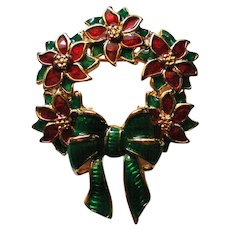Red Poinsettia and Green Bow Christmas Wreath Pin for the Holidays
