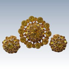 Citrine Yellow Judy Lee Brooch with Clip Earrings