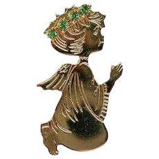 Small Gold tone Angel Pin for Christmas