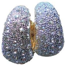 Pave set Rhinestone Hoop Clip Earrings