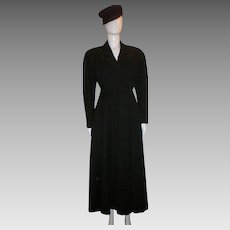 Vintage Ann Klein Black Wool Mid-calf Coat.
