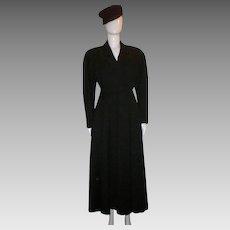 Vintage Ann Klein Black Wool Mid-calf Coat.