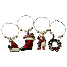 Christmas Holiday Wine Charms