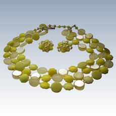 W Germany Lemon Yellow Mid-Century Triple Strand Plastic Necklace with Clip Earrings