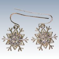Silver tone Snowflake Pierced Earrings for Winter Holidays
