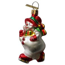 Christopher Radko Skating Snowman Christmas Tree Ornament