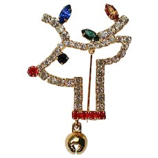 Sparkling Rudolph Reindeer Pin for Christmas Holidays