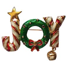JOY Candy Cane Pin with Wreath for Christmas Winter Holidays
