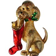 Signed Gerry's Dog with Christmas Stocking Pin