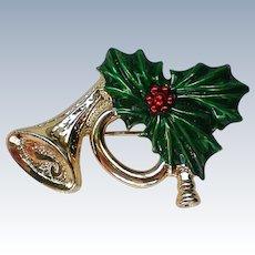 Gerry's Joyous Horn Pin for Christmas  Holidays