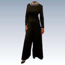 Jose' de Lema  Black Jumpsuit with Beaded Collar