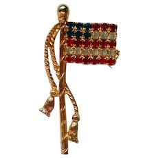American Flag Rhinestone Pin