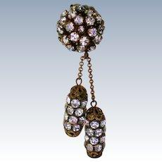 Dazzling Double Dangle Rhinestone Clip Earrings