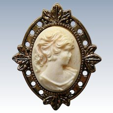 Petite Molded Cameo Brooch in Gold tone Frame