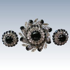 Austrian Crystal Filigree Brooch with Clip Earrings