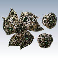 Filigree Green and Gold tone Flower Brooch with Clip Earrings