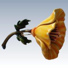 HAR Enameled Flower Brooch