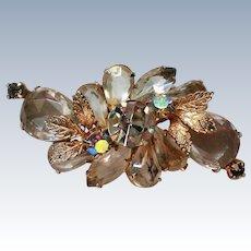 Crystal Rhinestone Floral Brooch