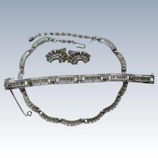Crown Trifari Full Parure Rhinestone Necklace, Bracelet, Earring Jewelry Set
