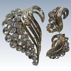 Rhinestone Swirl Pin with Matching Clip Earrings Set
