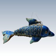 Articulated Metal Enameled Cloisonné Dolphin Fish Ornament