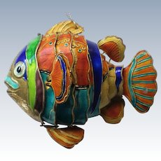 Articulated Metal Enameled Cloisonné Fish Ornament