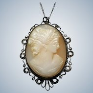 Vintage Sterling Silver Filigree Cameo Pendant Necklace