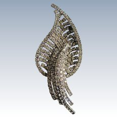 Extraordinary Large Rhinestone Studded Leaf Brooch