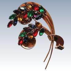 Coro Craft Sterling Pegasus Floral Brooch