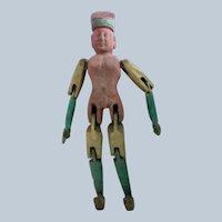 Primitive Wooden Hand Carved Man Peg Doll