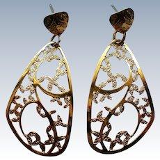 Dazzling Gold tone Dangle Pierced Earrings