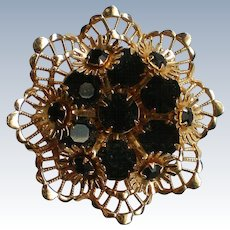 Gold and Black Layered Brooch