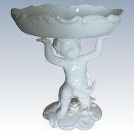 White Porcelain Cupid Soap or Trinket Dresser Dish