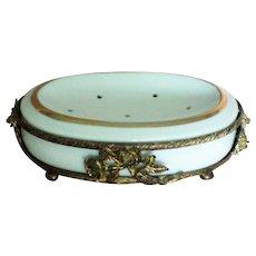 Vintage Ceramic Soap Dish with Metal Holder